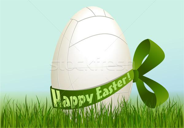 Volleybal easter egg vakantie sport Pasen gras Stockfoto © jagoda