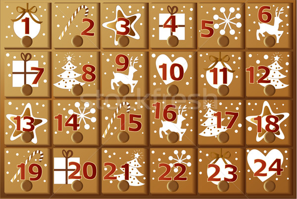 Kalender christmas decoraties geschenken hart Stockfoto © jagoda