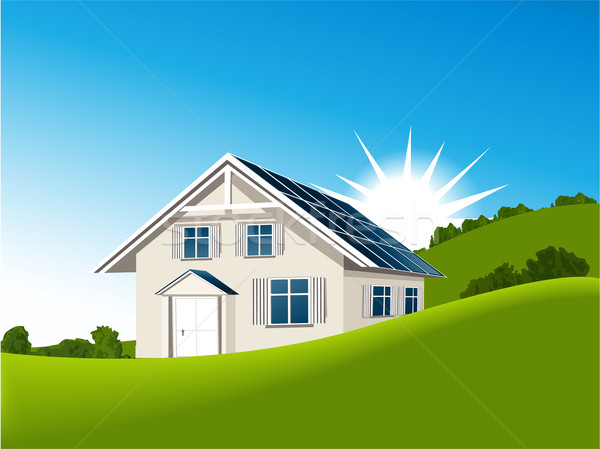 House with solar collectors Stock photo © jagoda
