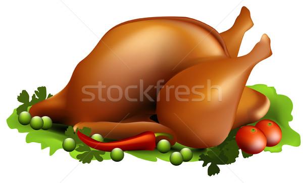 Roast chicken Stock photo © jagoda
