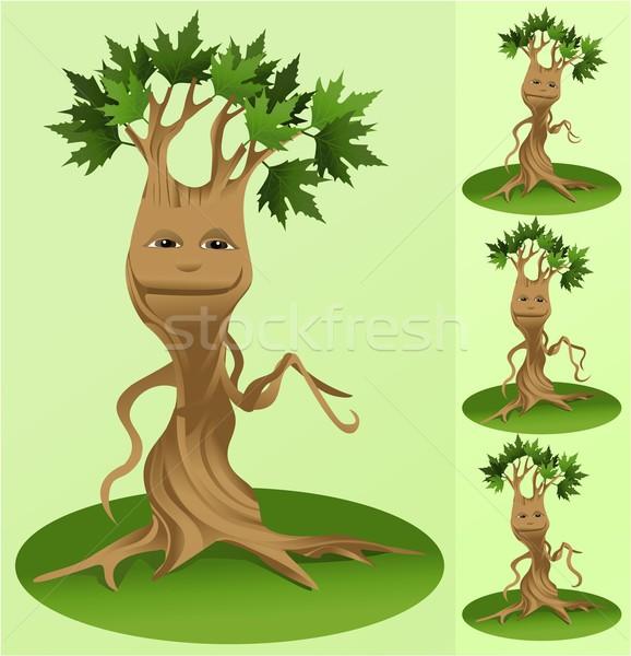 Vetor árvore mascote ilustração engraçado cara Foto stock © jagoda