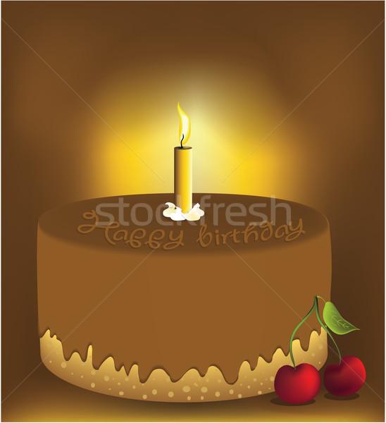 Bolo de aniversário o melhor chocolate vela cereja Foto stock © jagoda