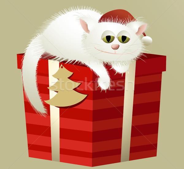 Branco natal gato grande dom feliz Foto stock © jagoda