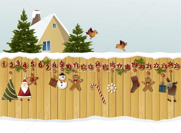 Advent calendar on fence  Stock photo © jagoda