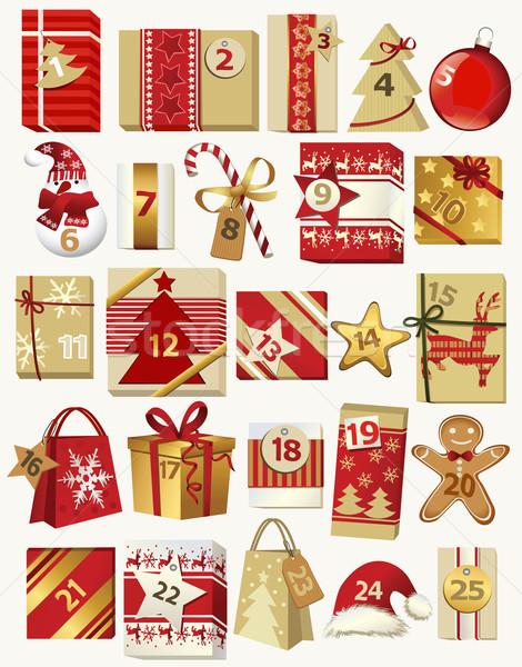 Kalendarza christmas prezenty daty serca Zdjęcia stock © jagoda