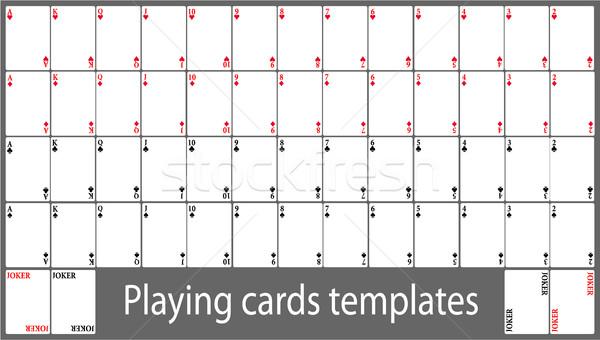 Kártyapakli sablon szett vektor tele háttér Stock fotó © jagoda