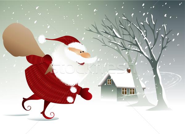 Natal papai noel férias engraçado árvore sorrir Foto stock © jagoda