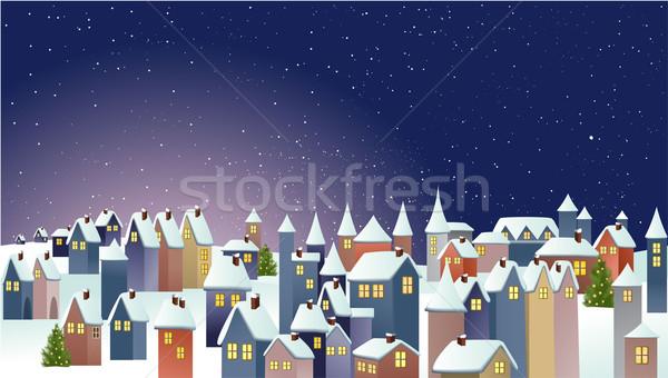 ストックフォト: 冬 · 町 · クリスマス · 風景 · 家
