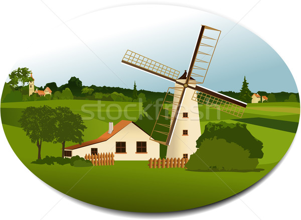 Stock photo: Rural scene with windmill