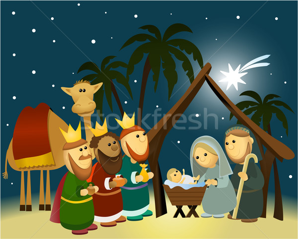 Cartoon scène heilig familie christmas licht Stockfoto © jagoda