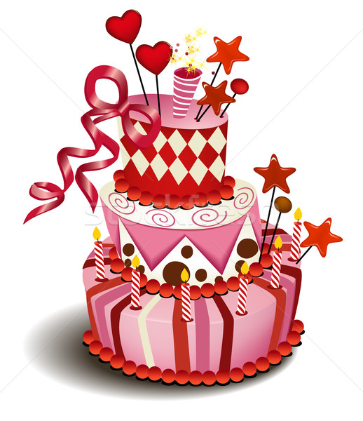 Big pink cake Stock photo © jagoda