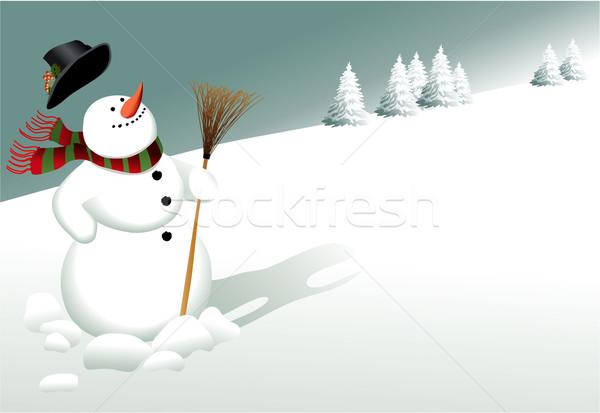 漫画 クリスマス 雪だるま 風景 光 雪 ストックフォト © jagoda