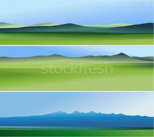 Três abstrato banners montanhas natureza fundos Foto stock © jagoda