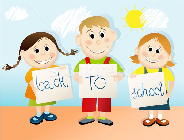 De volta à escola educação jovem feliz estudantes sorrir Foto stock © jagoda