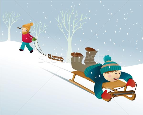 冬 楽しい ゲーム 演奏 子供 幸せ ストックフォト © jagoda