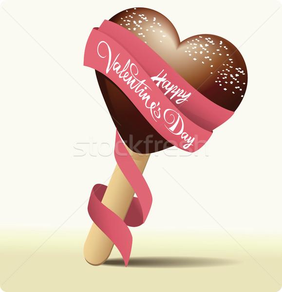 Sorvete coração doce símbolo comida Foto stock © jagoda