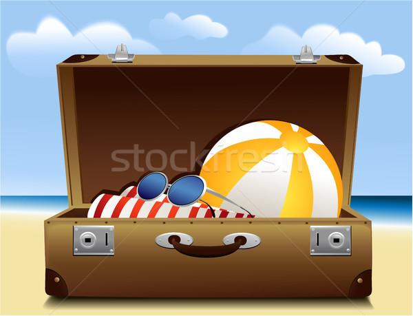 夏 荷物 休日 旅行 スーツケース ビーチ ストックフォト © jagoda