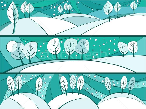 冬 バナー 漫画 木 農村 フィールド ストックフォト © jagoda