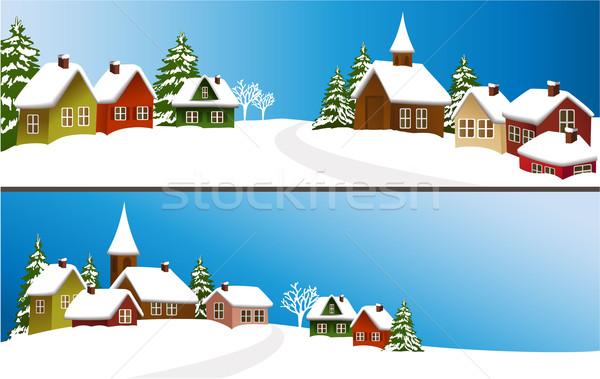 ストックフォト: 冬 · 町 · クリスマス · 風景 · ホーム