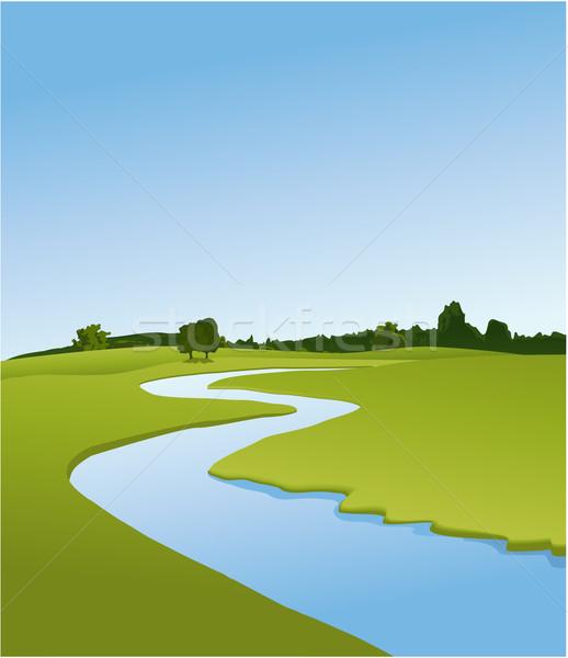 ストックフォト: 川 · 国 · 風景 · 緑 · フィールド
