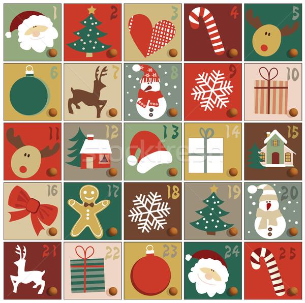 Aufkommen Kalender Weihnachten Baum Herz Hintergrund Stock foto © jagoda