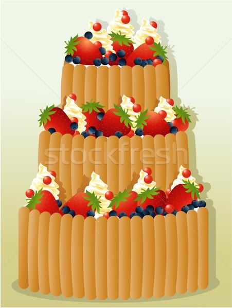 Büyük doğum günü pastası meyve parti meyve süt Stok fotoğraf © jagoda