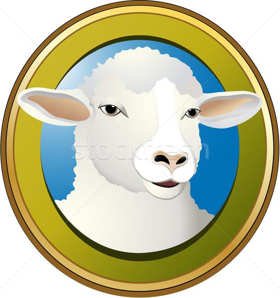 羊 単純な ラベル 顔 ファーム ミルク ストックフォト © jagoda