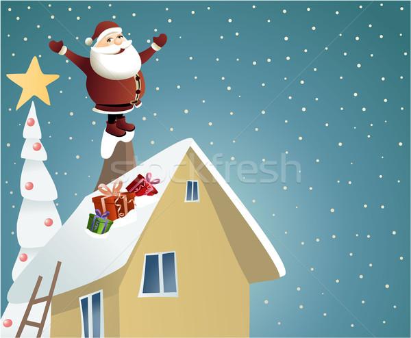 Papai noel presentes natal casa sorrir neve Foto stock © jagoda