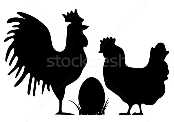 Drób sylwetki kogut kura easter egg Wielkanoc Zdjęcia stock © jagoda