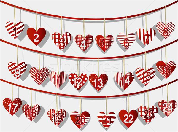 Kalendarza christmas słodkie serca zimą Zdjęcia stock © jagoda