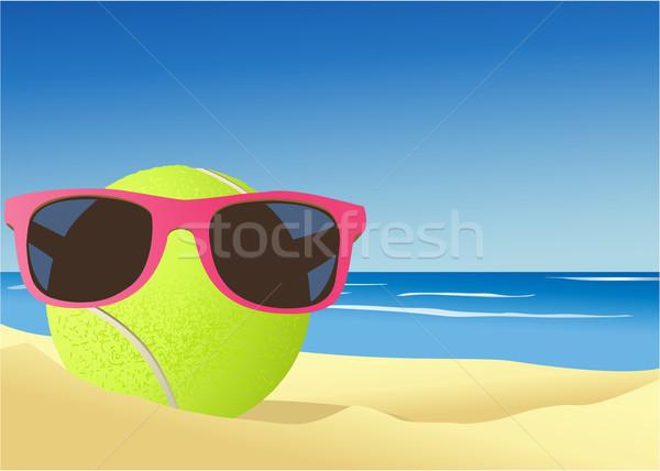 Tennisbal strandzand vakantie hot sport zee Stockfoto © jagoda