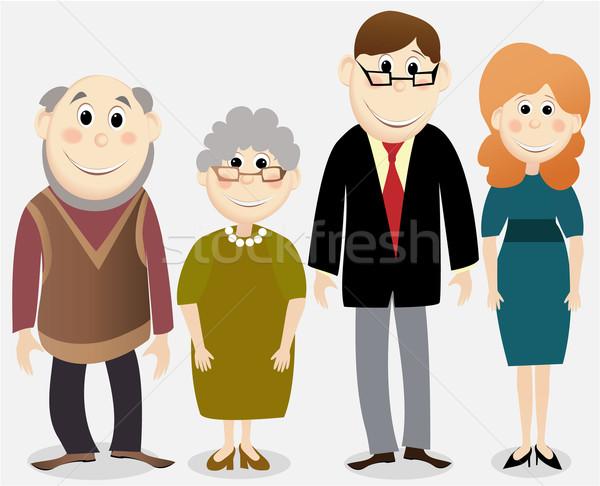 Rajz boldog család család betűk mosoly férfiak Stock fotó © jagoda