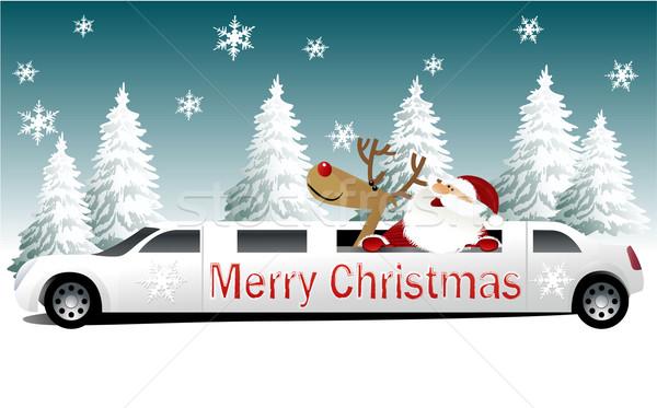 Natal papai noel férias limusine carro neve Foto stock © jagoda