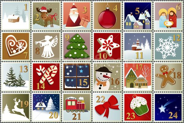 приход календаря Рождества штампа коллекция семьи Сток-фото © jagoda