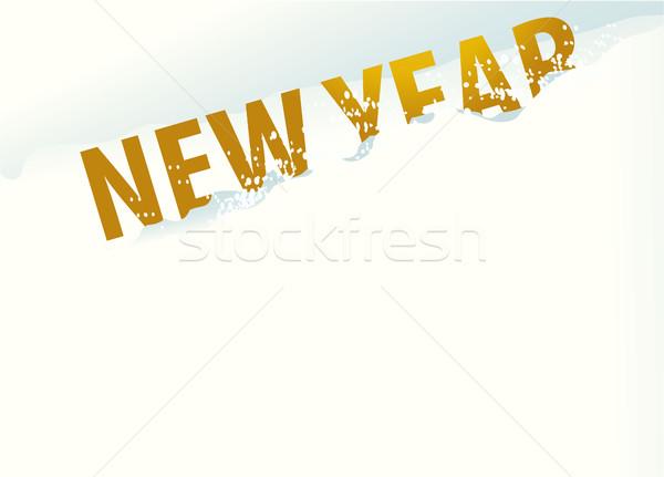 Hó új év ünnep felirat boldog fény Stock fotó © jagoda