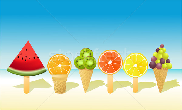 Fruits d'été fruits plage design fond Photo stock © jagoda