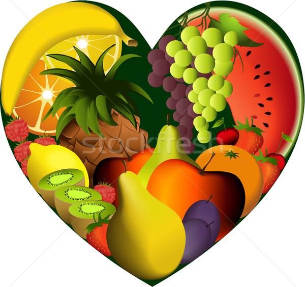 Photo stock: Fruits · forme · de · coeur · régime · alimentaire · produits · alimentaire · coeur