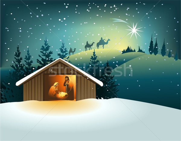 Christmas nativity scene with holy family  Stock photo © jagoda