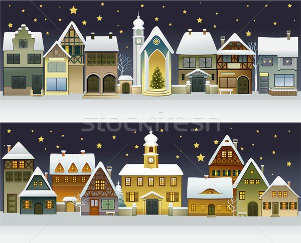 Inverno cidade banners desenho animado casas paisagem Foto stock © jagoda