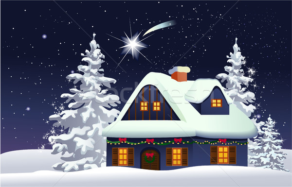 Christmas snowy house Stock photo © jagoda