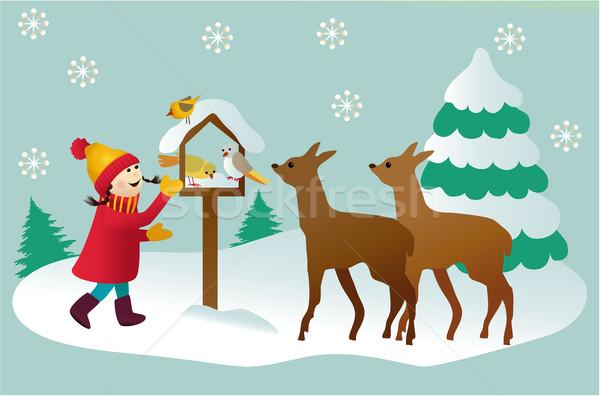 ストックフォト: 冬 · 雪 · 時間 · 漫画 · 実例 · 少女