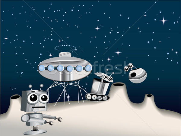 Cartoon robots on the Moon  Stock photo © jagoda