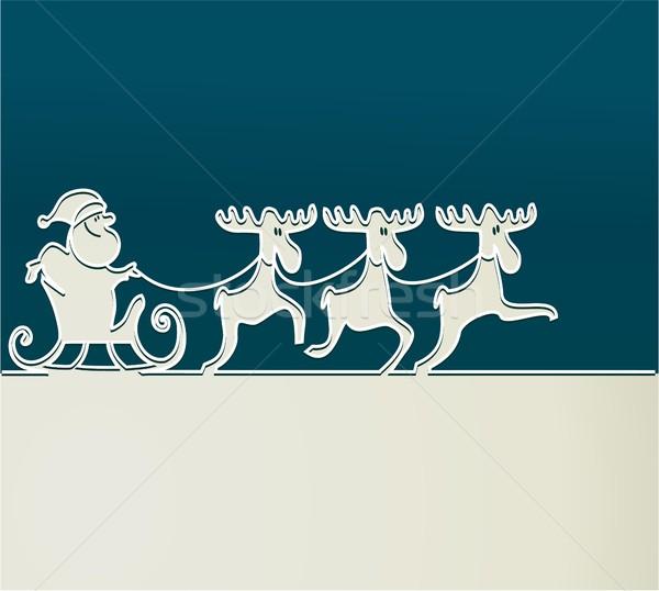 Święty mikołaj sanie christmas tle zimą dar Zdjęcia stock © jagoda