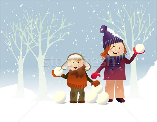 ストックフォト: 冬 · 演奏 · 子供 · 幸せ · 子