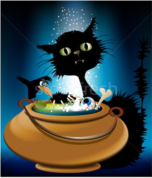 Halloween magia animais gato bubbles medo Foto stock © jagoda