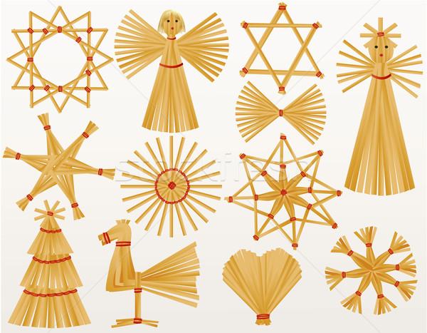 Christmas straw decorations Stock photo © jagoda