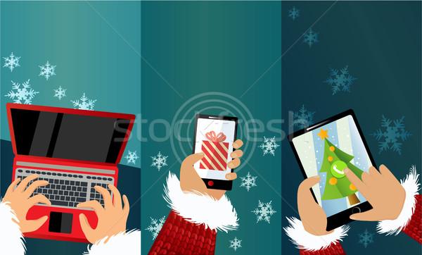 メッセージ サンタクロース 3  クリスマス バナー 携帯電話 ストックフォト © jagoda