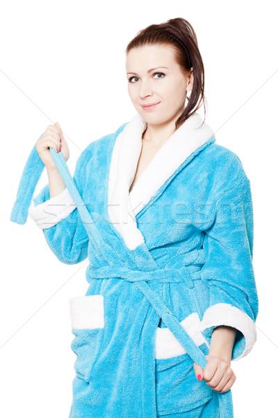 Jonge vrouw Blauw badjas geïsoleerd witte vrouw Stockfoto © jagston