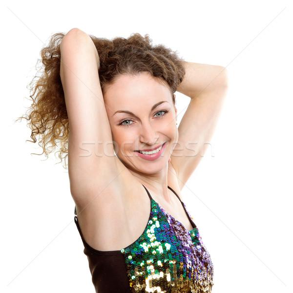 Stockfoto: Brunette · vrouw · aanraken · hand · vrouw · glimlachen · witte