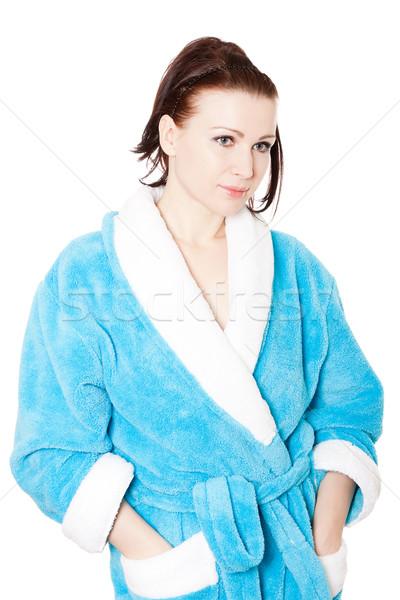 Jonge vrouw Blauw badjas witte handen geïsoleerd Stockfoto © jagston